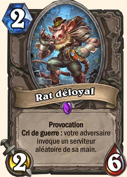 Rat déloyal carte Hearthstone