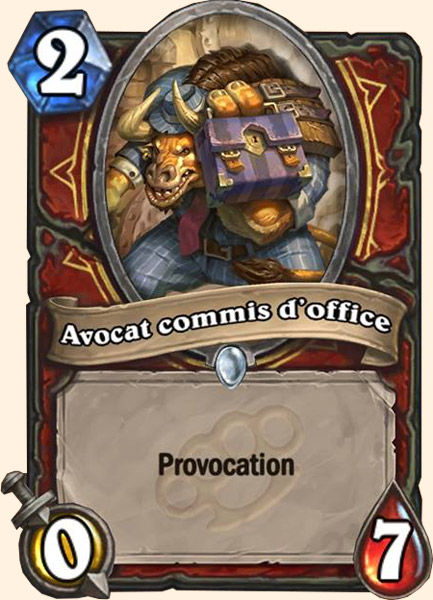 Avocat commis d'office carte Hearthstone