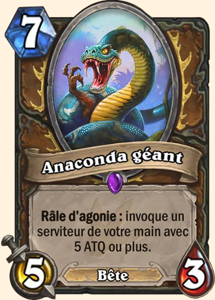 Anaconda géant carte Hearthstone