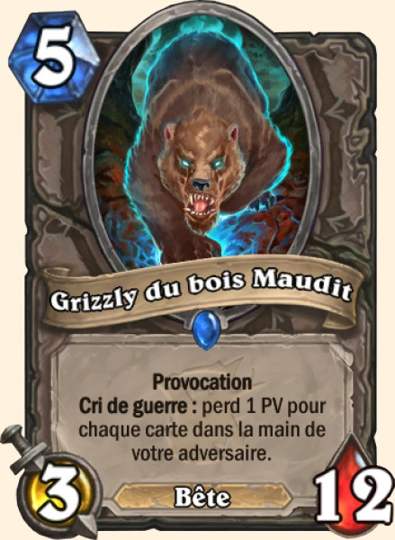 Grizzly du bois Maudit carte Hearthstone