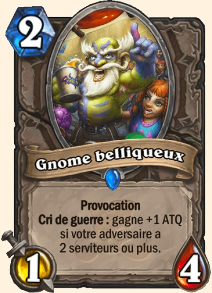 Gnome belliqueux carte Hearthstone