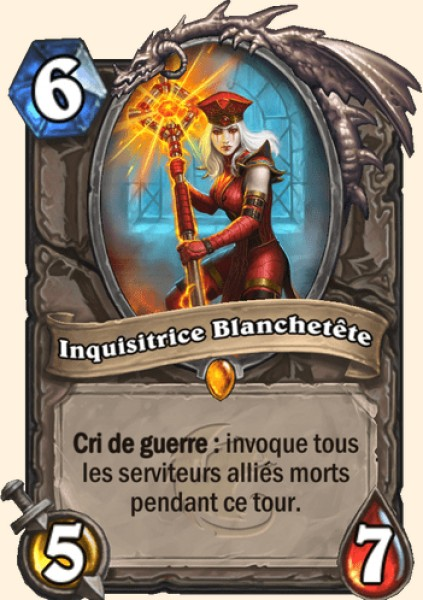 Inquisitrice Blanchetête carte Hearthstone