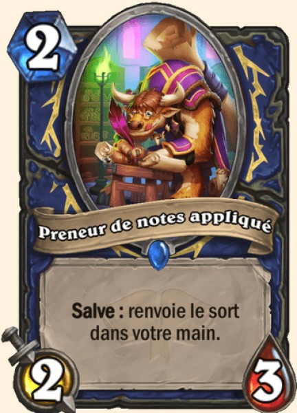 Preneur de notes appliqué carte Hearthstone