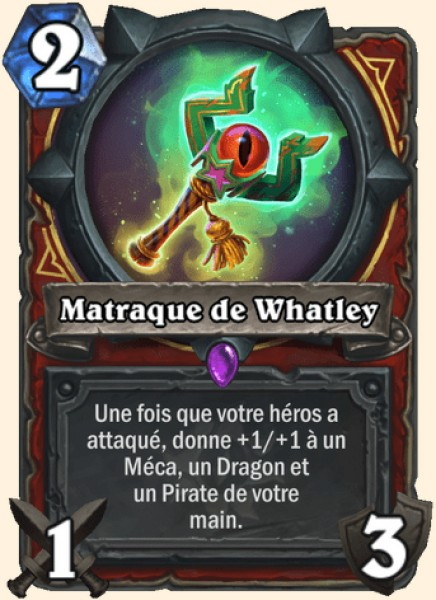 Matraque de Whatley carte Hearthstone