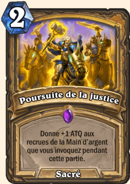 Poursuite de la justice carte Hearthstone