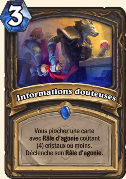 Informations douteuses carte Hearthstone