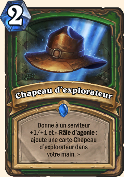 Chapeau d'explorateur carte Hearthstone
