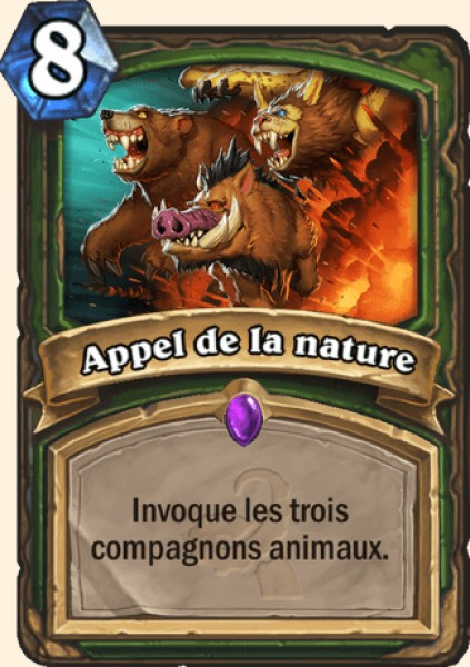 Appel de la nature carte Hearthstone