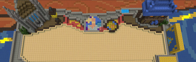 Le plateau de la cité d'Hurlevent dans Minecraft