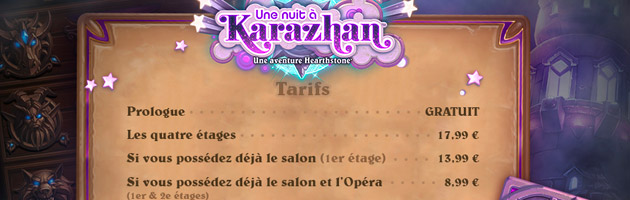 Structure et prix des ailes de Karazhan