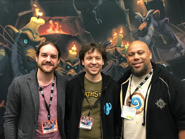 Zecharia en compagnie de Mike Donais et de Jomaro Kindred lors de la Blizzcon 2017