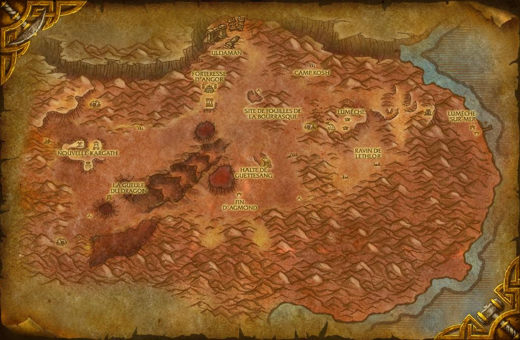 Carte des Terres Ingrates dans World of Warcraft