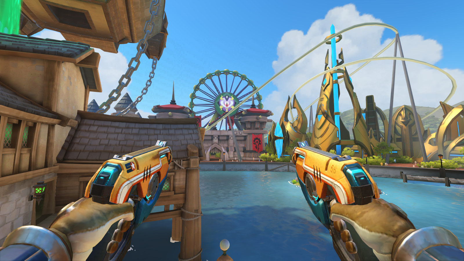 La grande roue de Sombrelune est visible sur la map Blizzard World