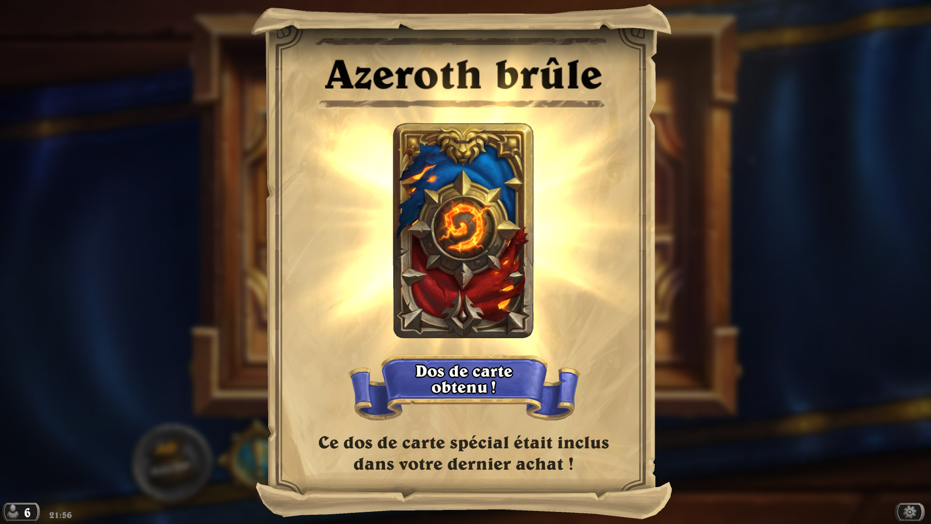Dos de carte Azeroth Brûle - Précommande Battle for Azeroth (version Deluxe)