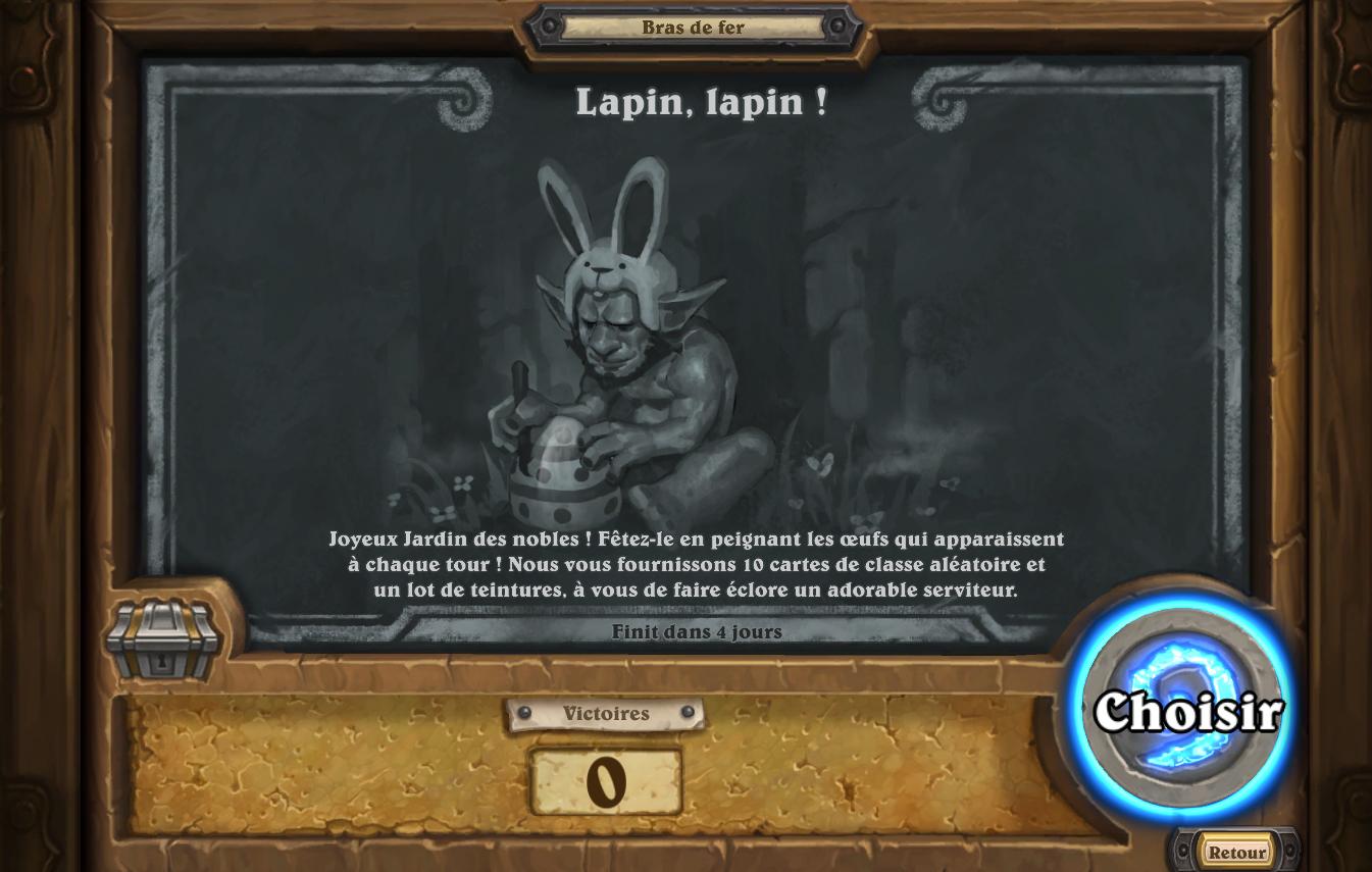 Le bras de fer hebdomadaire Lapin, lapin