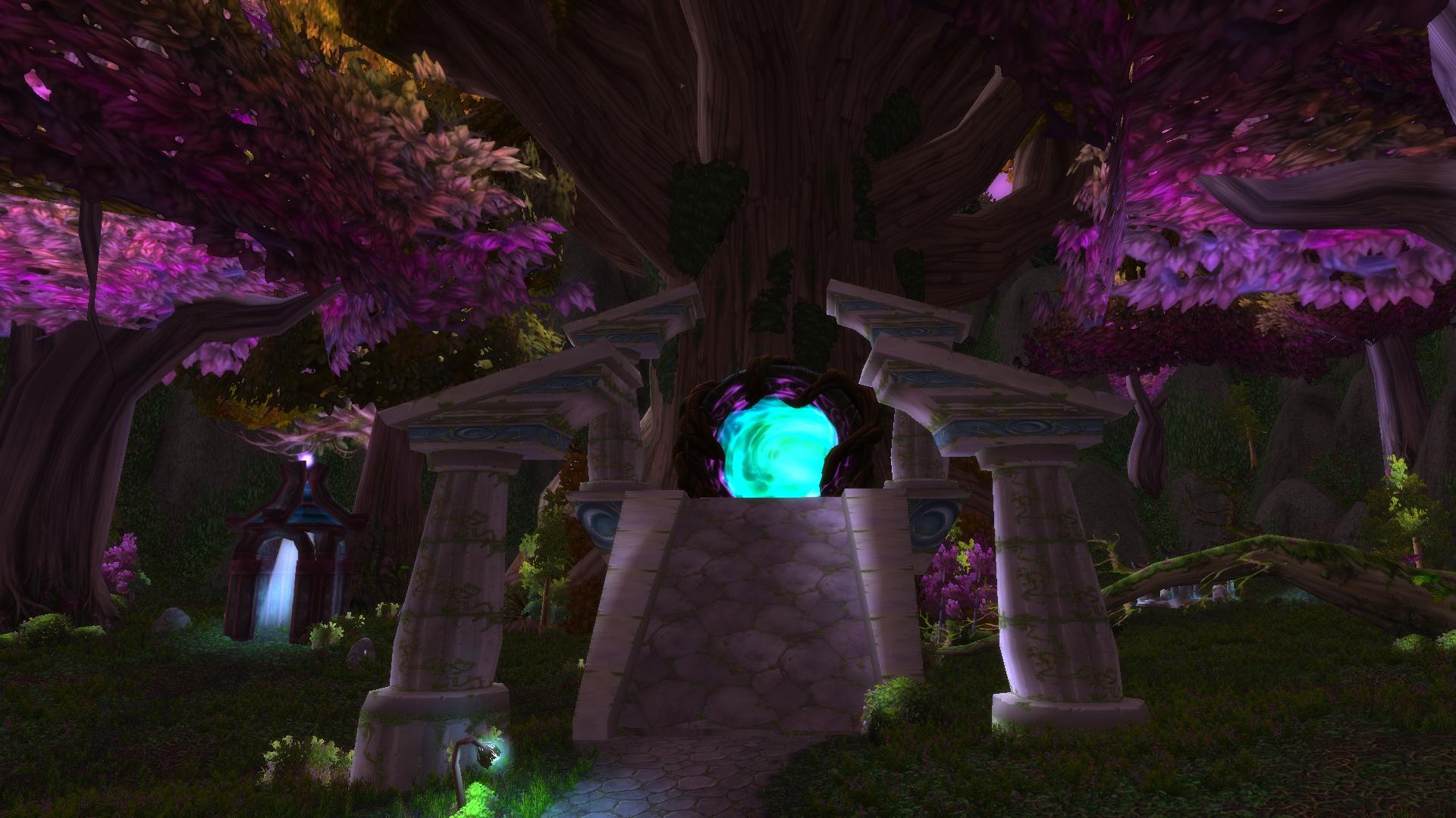 Un portail menant vers le Rêve d'émeraude au bois de la Pénombre