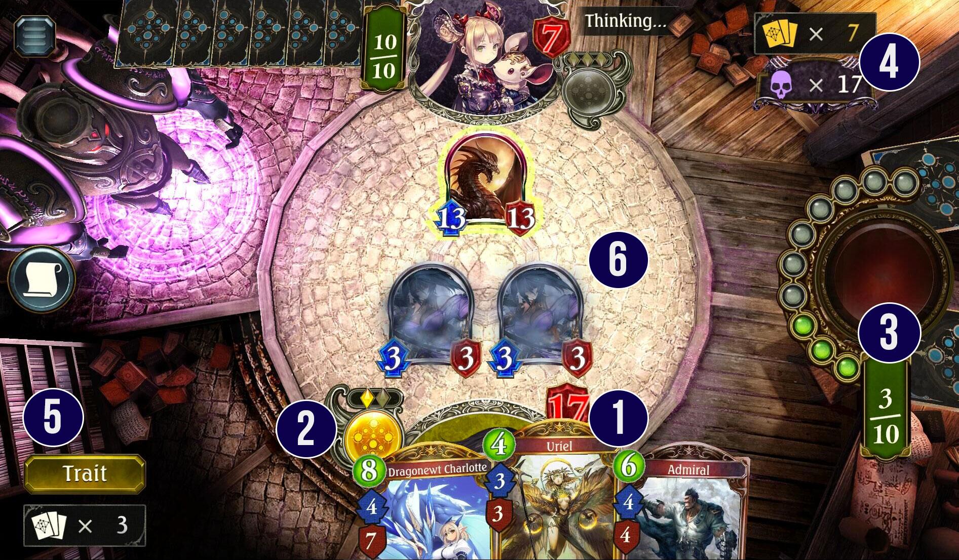 Le plateau de jeu de Shadowverse
