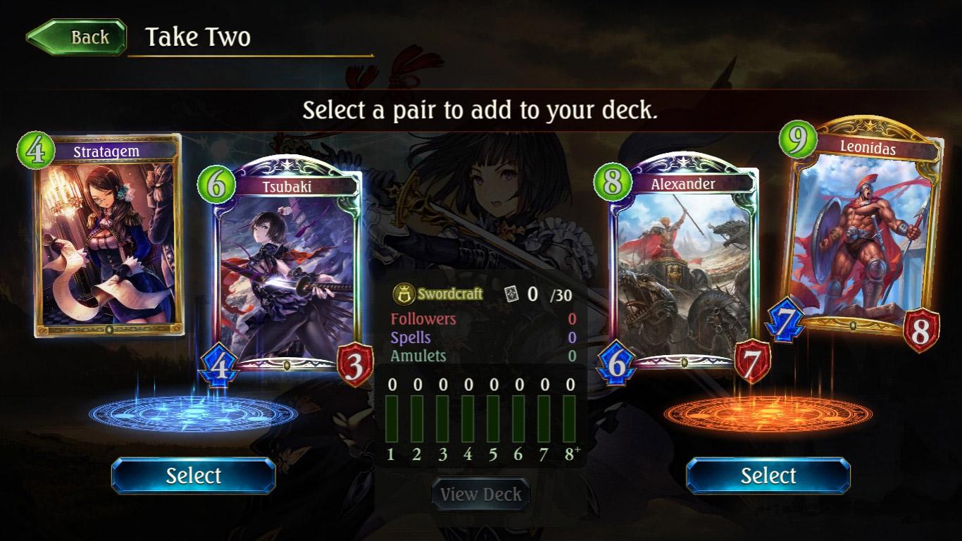 En arène, vous avez le choix entre deux paires de cartes pour constituer votre deck.