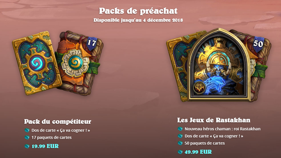 L'extension Jeu de Rastakhan propose deux packs de préachat
