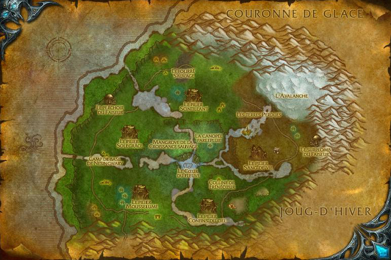 Carte du bassin de Sholazar dans World of Warcraft
