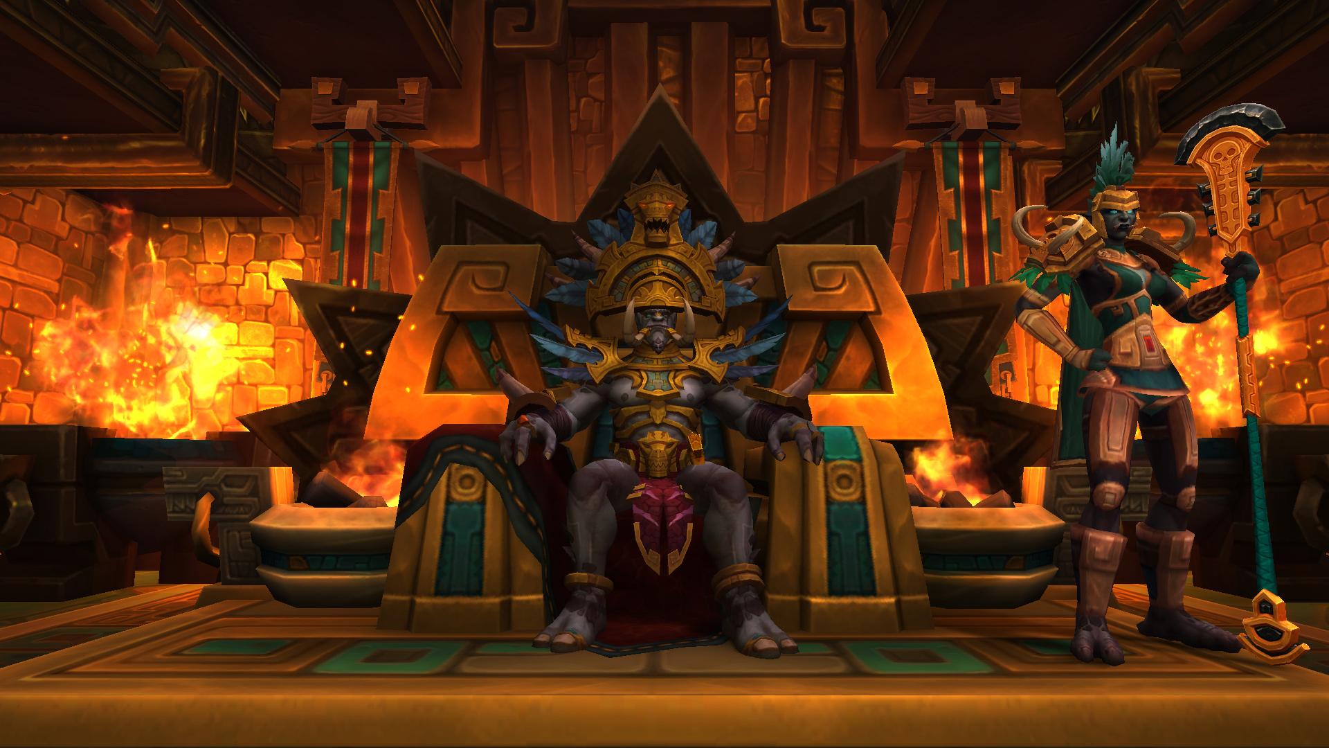 Le roi Rastakhan sur son trône doré dans World of Warcraft