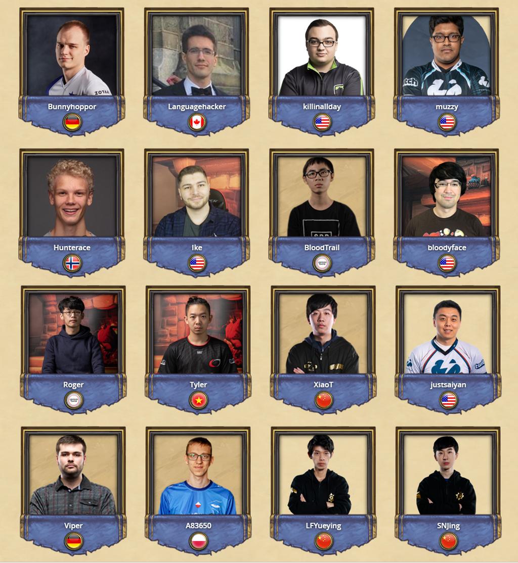 Les 16 joueurs présents au Championnat du monde Heartshtone 2019