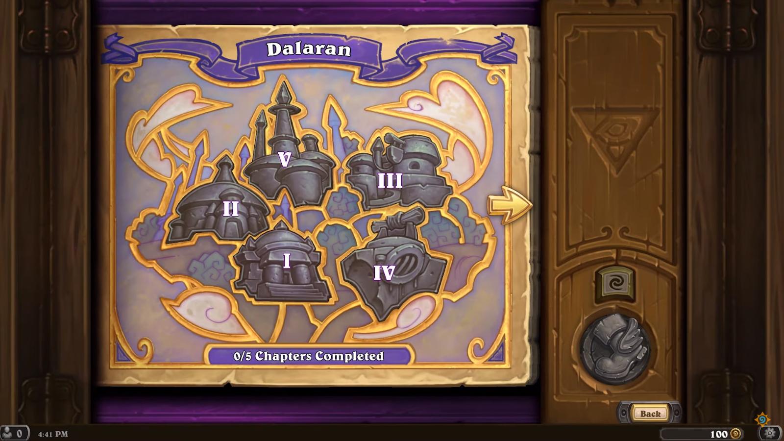 L'aventure est divisée en 5 chapitres représentant des lieux symboliques de Dalaran