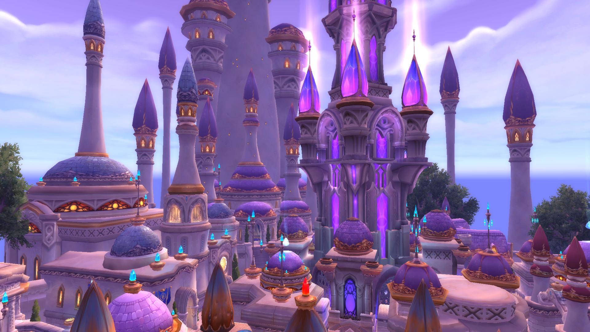 Dalaran dans World of Warcraft, flottant au dessus des îles Brisées