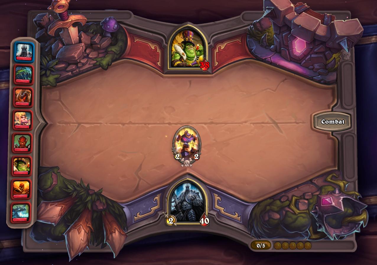 Dégâts de base du héros 2 points de dégâts car le niveau de la taverne est à 2