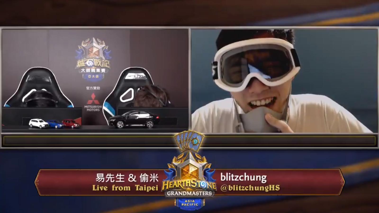 Le joueur Blitzchung lors de son interview après le tournoi