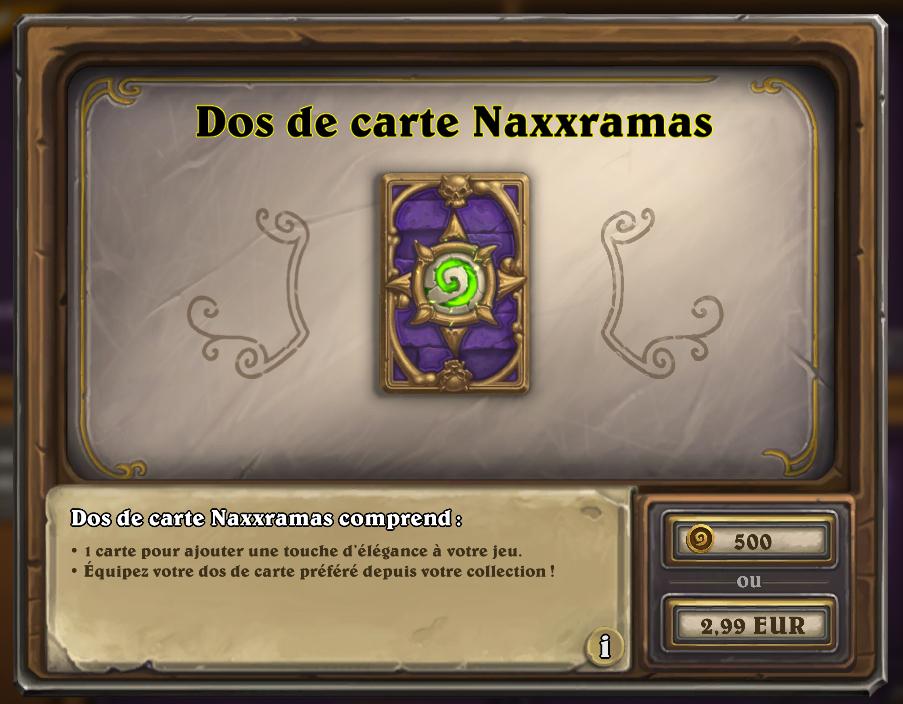 Dos de carte Naxxramas, disponible en boutique pour une durée limitée