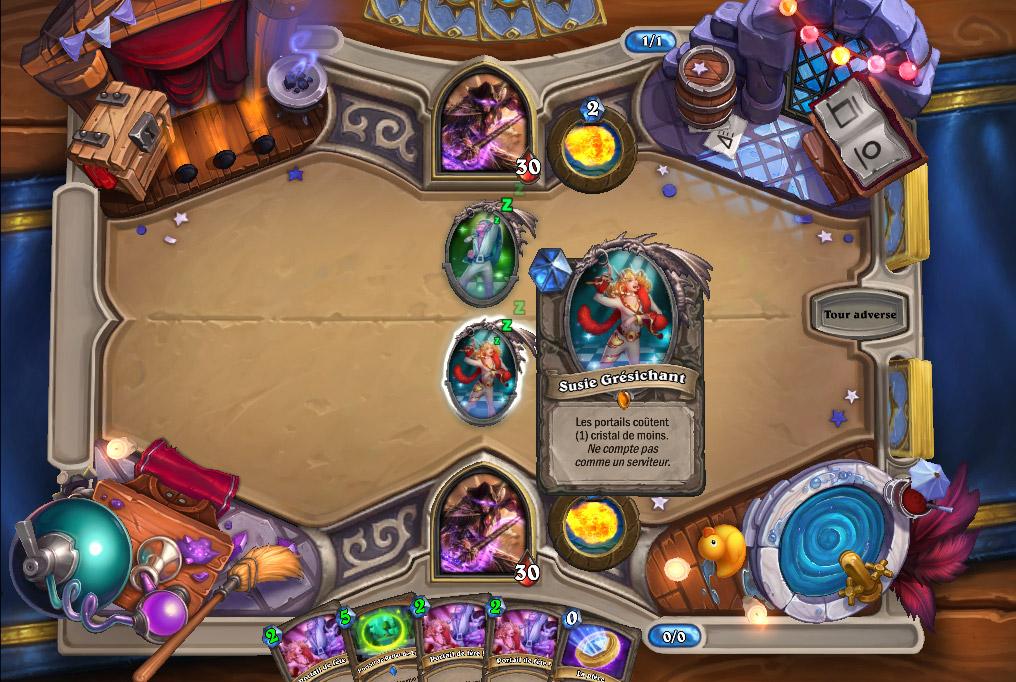Chaque joueur commence avec un serviteur posé sur le plateau